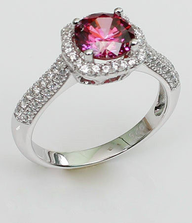 Purplish Halo Ruby with Tiny Zircon Silver Engagement Ring