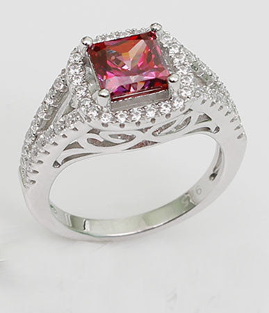 Cushion Shaped Bezel Setting Ruby Engagement Ring