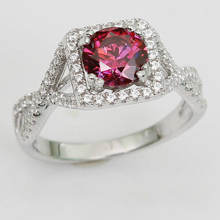 Antique-style Round Shaped Ruby Diamond Engagement Ring