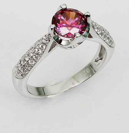 Exquisite Cut Prong Setting Purplish Ruby Silver Engagement