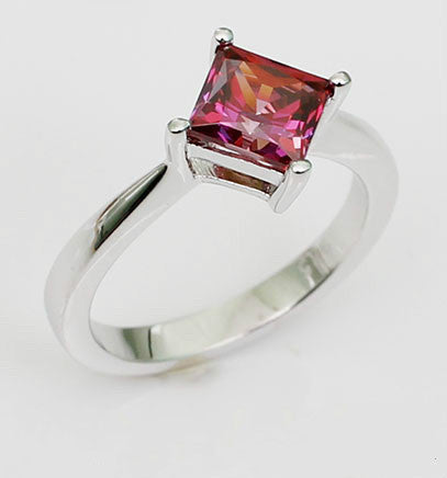 Princess Shaped Step Cut Ruby Diamond Silver Engagement Ring