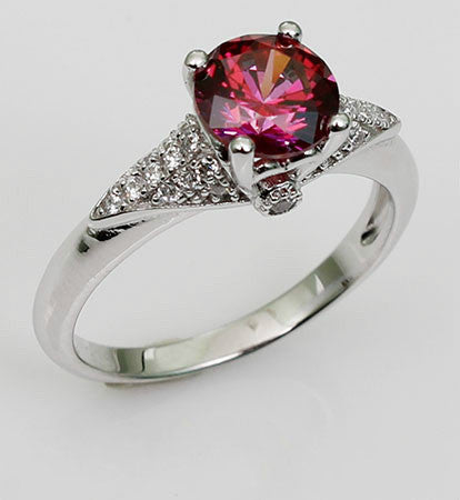 Brilliant Cut Prong Setting Purplish Ruby Diamond Engagement Ring