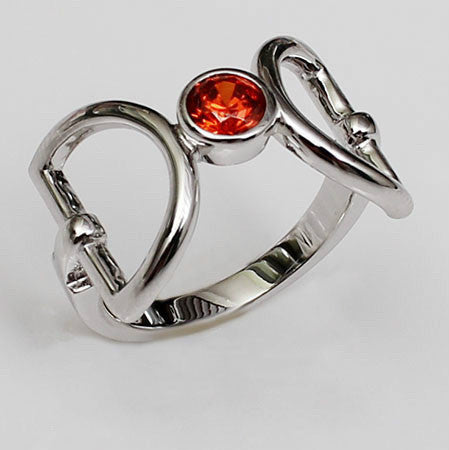 Brilliant Cut Orange-Red Ruby Diamond Silver Engagement Ring
