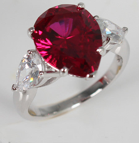 Purplish Pear Shaped Ruby Diamond Silver Engagement Ring