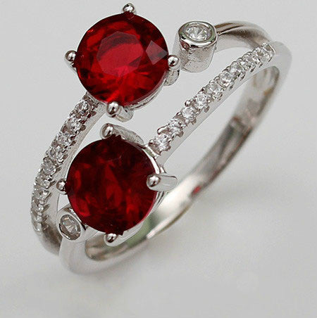 Double Blood-Red Prong Setting Ruby Diamond Silver Engagement Ring