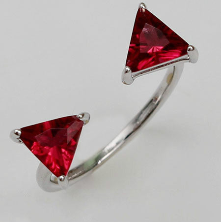 Double Triangle Shaped Ruby Silver Engagement Ring