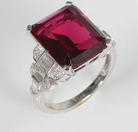 Step Cut Emerald Ruby Silver Engagement Ring