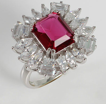 Escher Shaped Ruby with Crystal Flower Silver Engagement Ring
