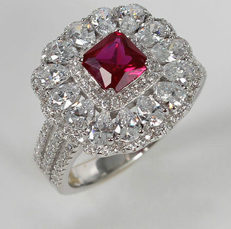 Radiant Shaped Ruby Bezel Setting with Crystal Engagement Ring