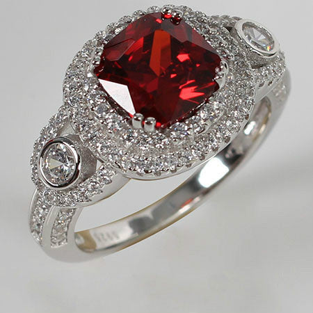 Asscher Shaped Ruby Side Crystal Silver Engagement Ring