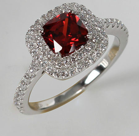 Cushion Shaped Ruby Diamond Crystal Paving Setting Engagement Ring