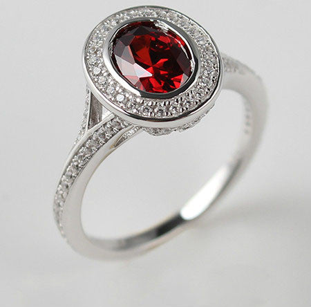 Blood-Red Brilliant Cut Ruby Silver Engagement Ring