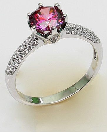 Round Shaped Brilliant Cut Crystal Paving Setting Engagement Ring