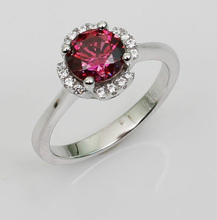 Solitary Round Shaped Ruby Engagement Ring
