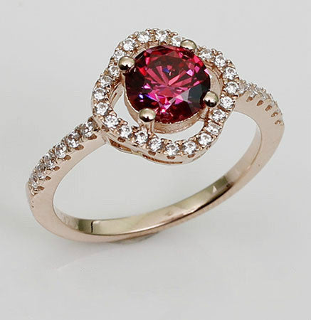 Brilliant Cut Round Shaped Purplish Ruby Engagement Ring