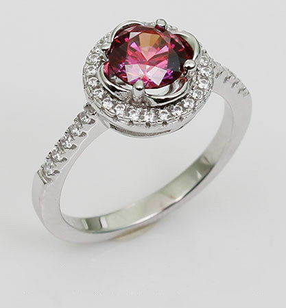 Prong Setting Ruby Diamond Crown Silver Engagement Ring
