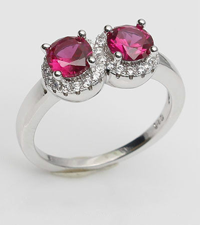Double Purplish Ruby Diamond Engagement Ring