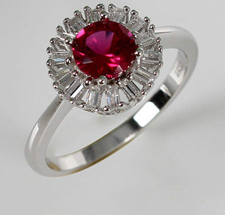 Solitary Purplish Ruby Diamond Silver Engagement Ring