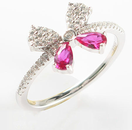 Purplish Ruby Diamond Bow knot Silver Engagement Ring