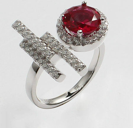Round Shaped Purplish Ruby Engagement Ring