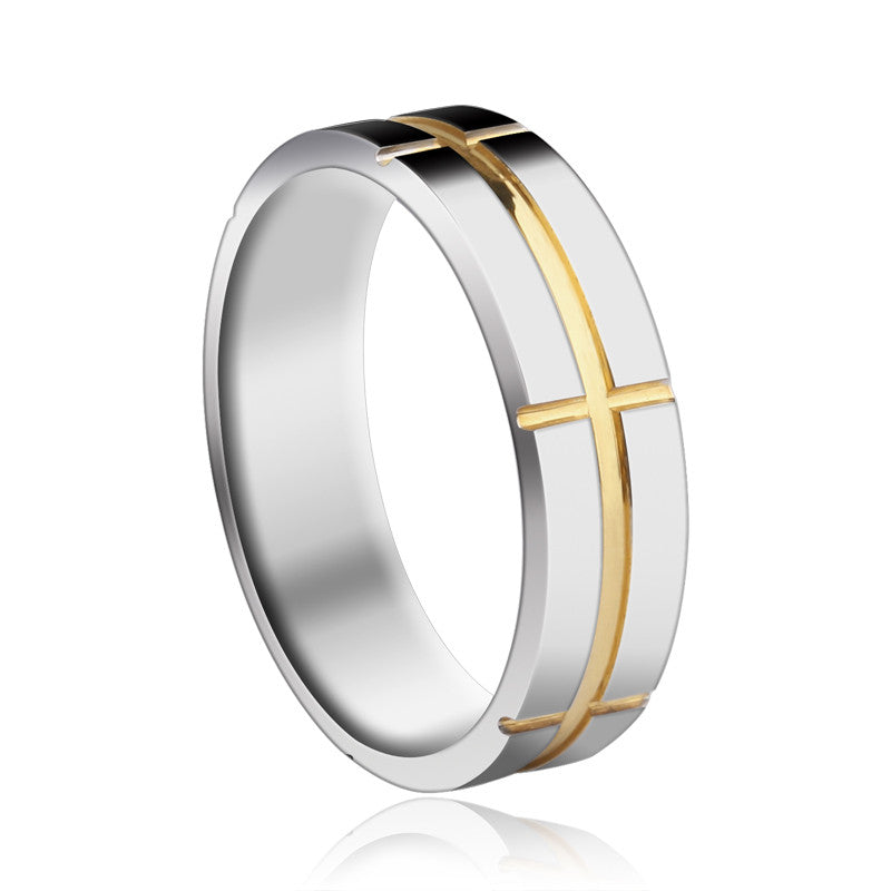 High Quality Simple Style Gold Cross Tungsten Gold Men's Ring