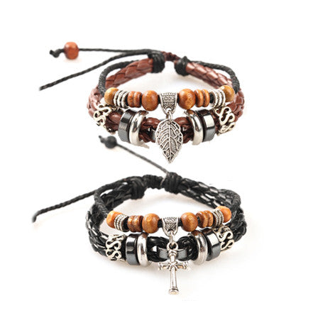 Couple Vintage Bracelets Daily Leaf Leather Black