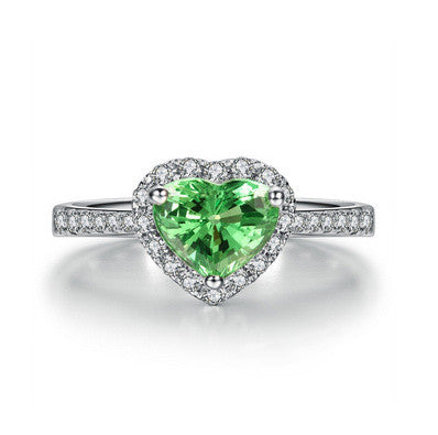 Heart Emerald 925 Sterling Silver Ring