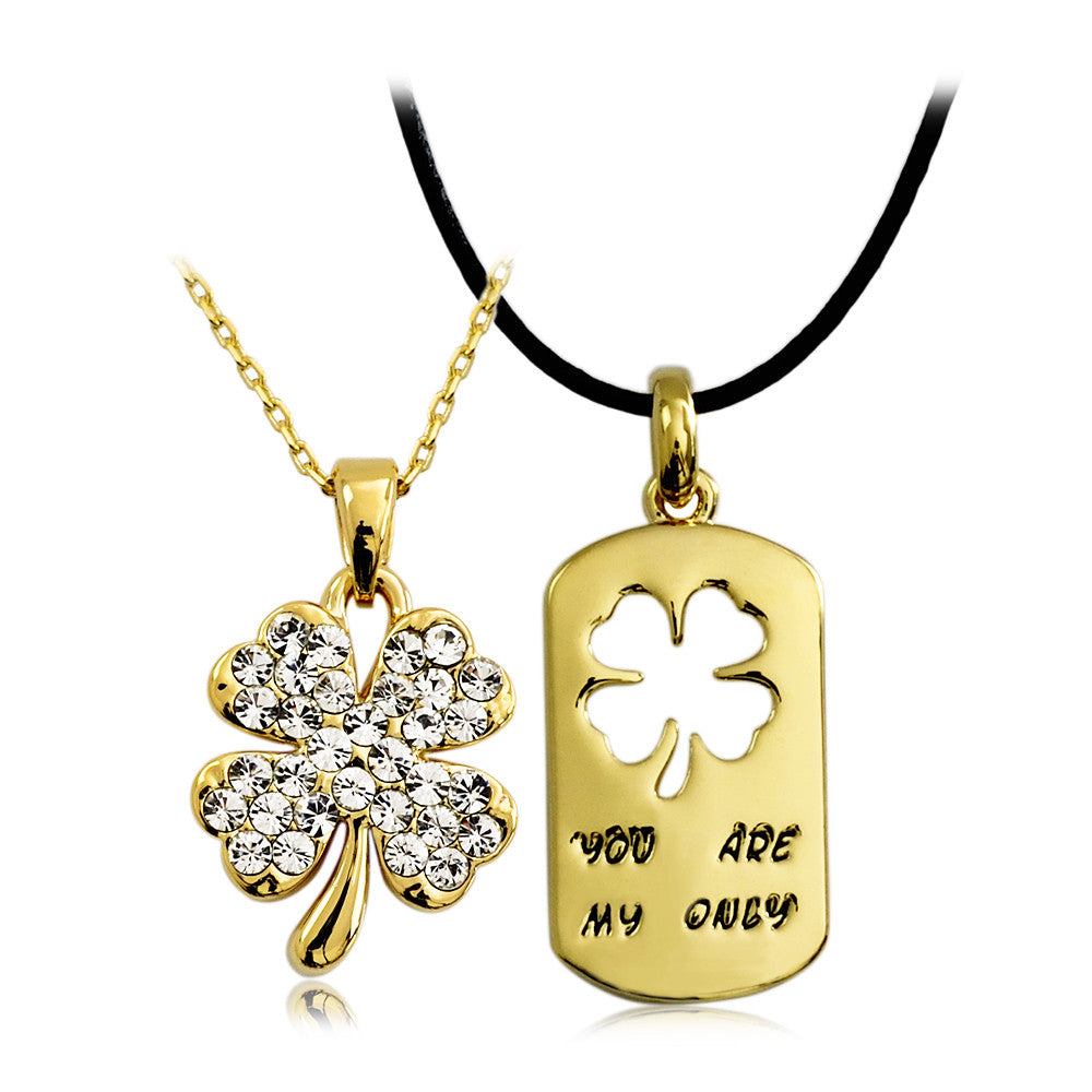 Four-leaf Clover Crystal Alloy Gold Plated Lover's Necklaces