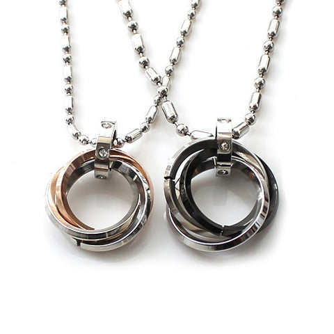 316L Titanium Steel Rings Pendant Lovers Necklaces