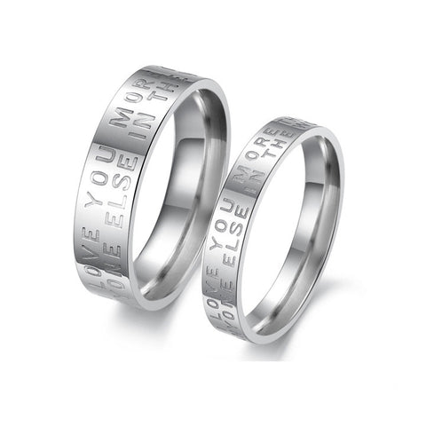 Personalized |I Love You More Than Anyone Else in the World| Promise Couple Rings