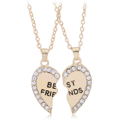 Best Friends Rhinestone Heart Pendant Necklace