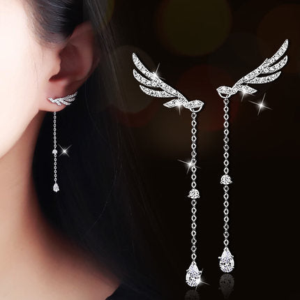 Angel Wings Silver Drop Earrings