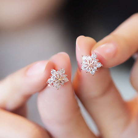 Crystal Snowflake Stud Earrings