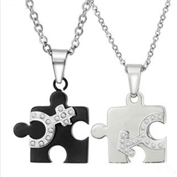 Black And White Jigsaw Titanium Couple Necklace