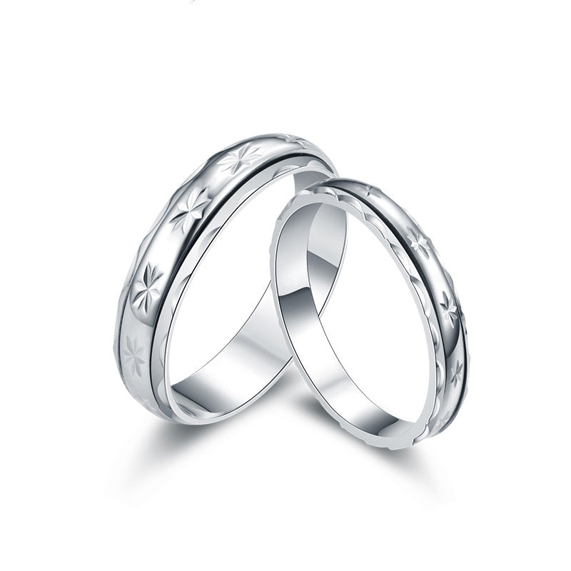 925 Sterling Silver Matte Leaves Couple Rings