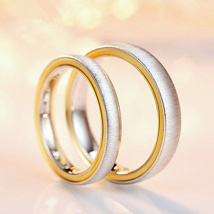 Frosted Silver Two Tone Silver Couple Rings