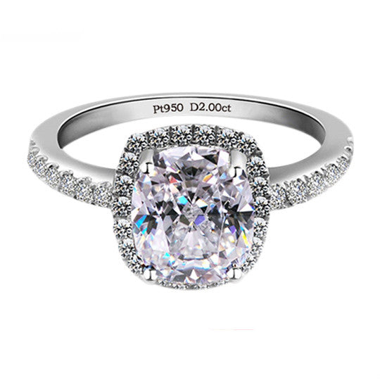 925 Sterling Silver White Gold Plated Square Cubic Zirconia Ring