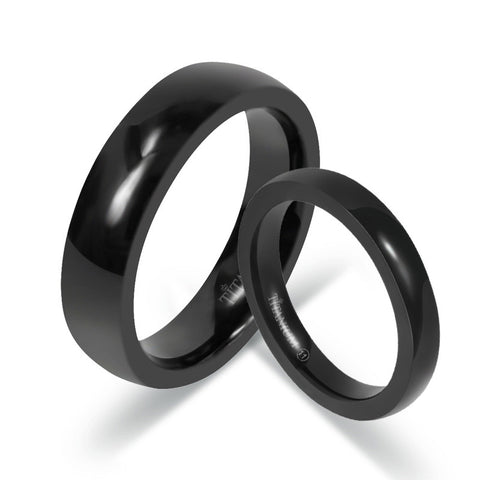 Simple Black Titanium Steel Lovers Rings