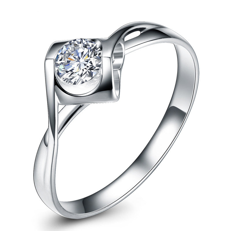 Romantic 925 Sterling Silver CZ Inlaid Heart-shaped Engagement Ring