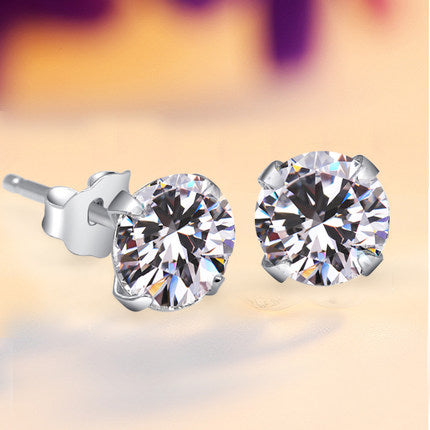 Prong Round Zircon Silver Earrings
