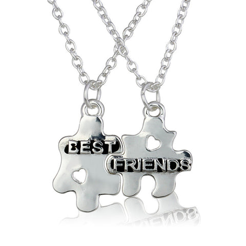 Sterling Silver Initial Puzzle Pendant Couple Necklaces