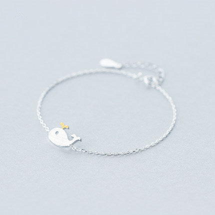 Cute Little Whale Silver Bracelet