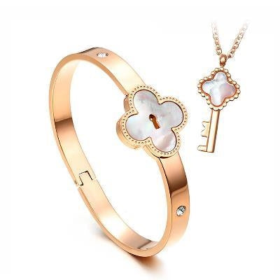 Key&Lock Titanium Steel Rose Gold Plated Couple Necklaces