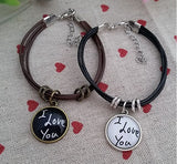 """I Love You"" Leather Rope Couple Bracelets"