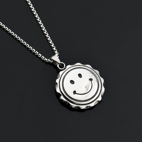 Smiling Face Titanium Pendent Necklace