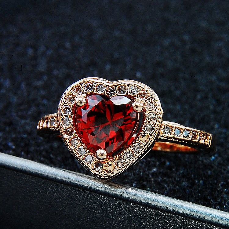 Ruby Rose Gold Plated Heart Shaped Engagement Ring – EverMarker