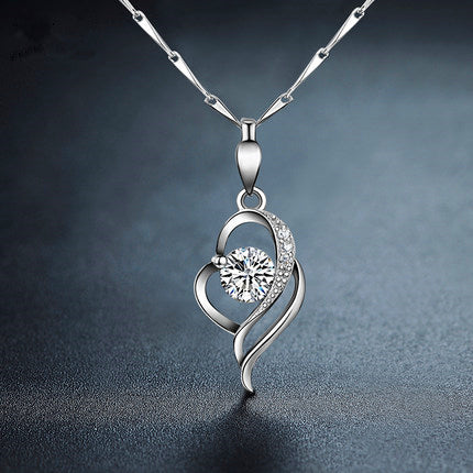Love Diamond Heart-Shaped Silver Necklace