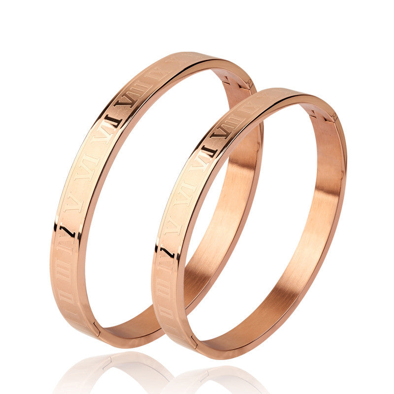 Roman Numerals Stainless Steel Couples Cuff Bracelets Bangles