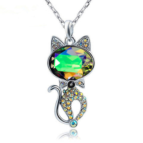 Persian Cat Crystal Silver Pendant Necklace