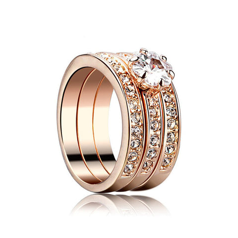 Latest Shining Three-in-one Crystal  Engagement Ring